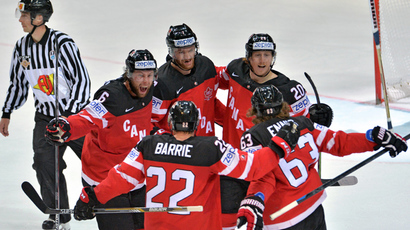 Canadian players celebrate a goal during the final match of the 2015 IIHF World Championship, Canada vs. Russia (RIA Novosti /  Alexey Kudenko)