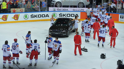 Russia's players after being defeated in the finals of the 2015 IIHF World Championship. Canada vs. Russia.(RIA Novosti / Alexey Kudenko)