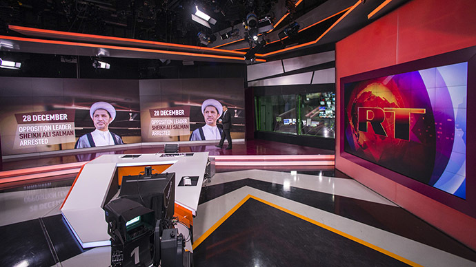 Russia Today newsroom during a live program in English. (RIA Novosti/Evgeny Biyatov)
