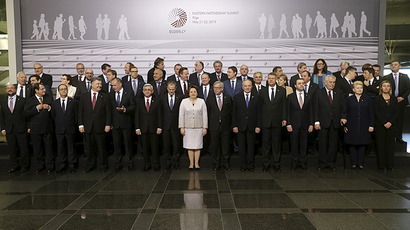 Heads of states and European Union officials pose for a picture before the Eastern Partnership Summit session in Riga, Latvia, May 22, 2015. (Reuters/Ints Kalnins)