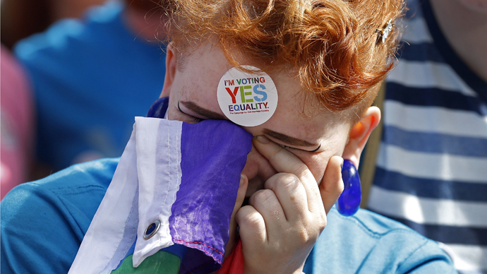 A same-sex marriage supporter reacts at Dublin Castle in Dublin, Ireland May 23, 2015. (Reuters / Cathal McNaughton)