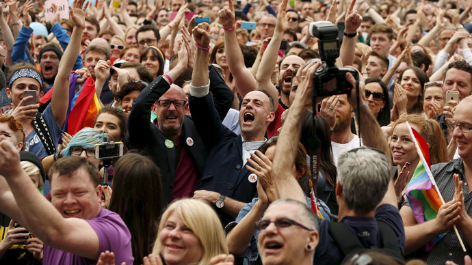 People react as Ireland voted in favour of allowing same-sex marriage in a historic referendum, in Dublin May 23, 2015.(Reuters / Cathal McNaughton)
