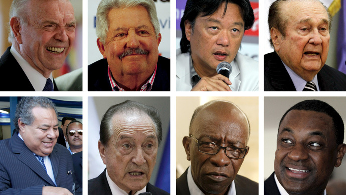 A combination photo shows eight of the nine football officials indicted for corruption charges in these file photos. (Reuters / Staff / Files)