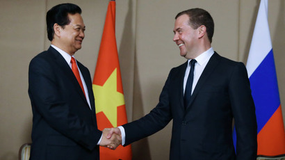 May 29, 2015. Prime Minister Dmitry Medvedev (right) during a meeting with Prime Minister of Vietnam Nguyen Tan Dung on the sidelines of the Eurasian Intergovernmental Council summit in Burabay, Kazakhstan. (RIA Novosti/Ekaterina Shtukina)