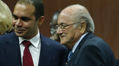FIFA President Sepp Blatter (R) stands with Prince Ali bin Al Hussein of Jordan at the 65th FIFA Congress in Zurich, Switzerland, May 29, 2015. (Reuters/Ruben Sprich)