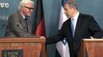 Israel's Prime Minister Benjamin Netanyahu (R) and German Foreign Minister Frank-Walter Steinmeier shake hands during a joint news conference in Jerusalem May 31, 2015.(Reuters / Menahem Kahana)