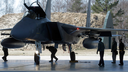 An US Air Force F-15 fighter during a joint NATO military exercise in Siauliai, Lithuania on April 1, 2014.(Reuters / Ints Kalnins)