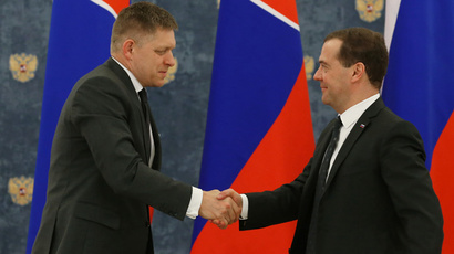 Russian Prime Minister Dmitry Medvedev (R) and his Slovak counterpart Robert Fico after a joint news conference following Russian-Slovak talks, in the Gorki residence. (RIA Novosti / Ekaterina Shtukina)