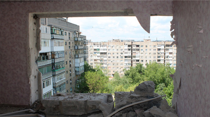 A destroyed apartment damaged during the shelling of Gorlovka in the Donetsk Region. (RIA Novosti / Irina Gerashchenko)