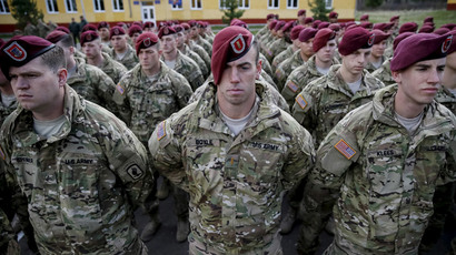 "Servicemen of the 173rd Airborne Brigade Combat Team of the U.S. Army attend an opening ceremony of joint military exercise ""Fearless Guardian 2015"" at the International Peacekeeping Security Center near the village of Starychy western Ukraine, April 20, 2015.(Reuters / Gleb Garanich)"