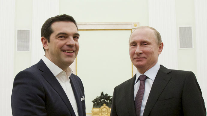 Russian President Vladimir Putin (R) and Greek Prime Minister Alexis Tsipras (Reuters/Alexander Zemlianichenko)