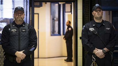 Corrections officers work in the Enhanced Supervision Housing Unit at the Rikers Island Correctional facility in New York. (Reuters/Brendan McDermid)