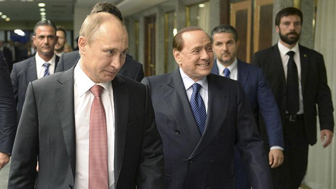 Russian President Vladimir Putin (L) and Italian former Prime Minister Silvio Berlusconi (2nd L). (Reuters/Alexei Nikolsky/RIA Novosti/Kremlin)