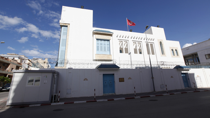 An exterior view of the Tunisian embassy is seen in Tripoli (Reuters / Ismail Zitouny)