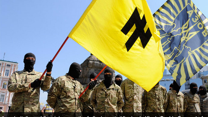 Azov battalion soldiers take an oath of allegiance to Ukraine in Kiev's Sophia Square