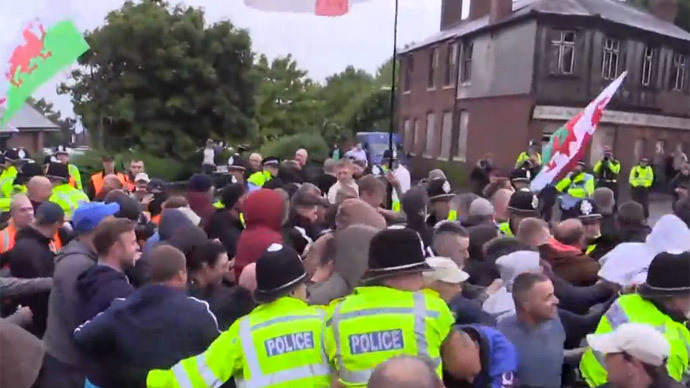 Far-right demonstrators in 3rd UK march against new mosque