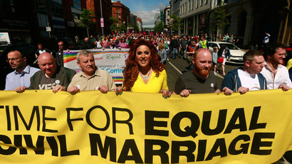 Lady Portia Di'Monte (C) takes part in the Rainbow Project rally for marriage equality in Belfast, Northern Ireland, June 13, 2015. (Reuters / Jason Cairnduff)