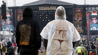 Fans look towards the main stage during the second day of the Download Festival in Castle Donington, Britain June 13, 2015 (Reuters / Darren Staples)