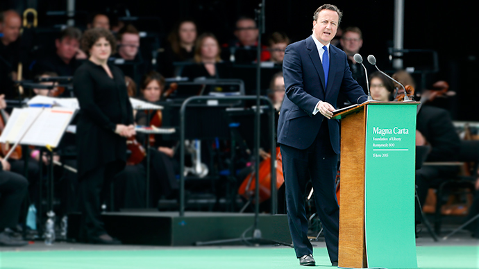 Prime Minister David Cameron, speaks during an event marking the 800th anniversary of Magna Carta in Runymede, Britain. (Reuters / Stefan Wermuth)