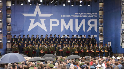 President Vladimir Putin(center) speaking at the ceremony of opening the ARMY-2015 international forum in the military park Patriot, in the town of Kubinka, Moscow Region, June 16, 2015. (RIA Novosti/Alexander Vilf)