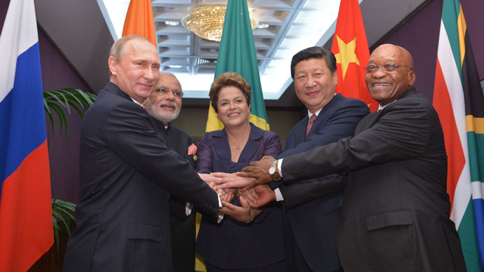 From left: Russian President Vladimir Putin, Indian Prime Minister Narendra Modi, President of Brazil Dilma Rousseff, Chinese President Xi Jinping and the President of South Africa Jacob Zuma during a meeting with the heads of state and government of the BRICS member countries (RIA Novosti/Alexei Druzhinin)