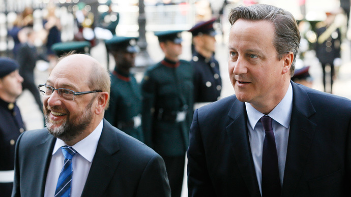 Britain's PM David Cameron (R) and Martin Schulz, President of the European Parliament, June 18, 2015. (Reuters / Kirsty Wigglesworth / Pool)