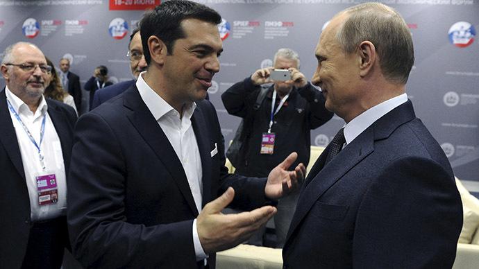 Greek Prime Minister Alexis Tsipras (L) speaks with Russian President Vladimir Putin during a session of the St. Petersburg International Economic Forum 2015 (SPIEF 2015) in St. Petersburg, Russia, June 19, 2015. (Reuters/Mikhail Klimentyev/RIA Novosti/Kremlin)