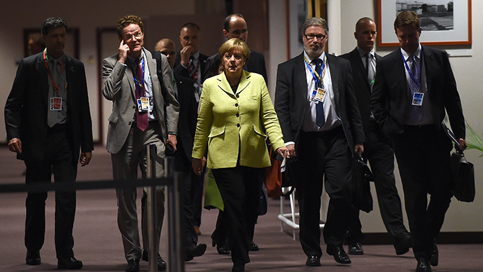 German Chancellor Angela Merkel arrives to address a press conference at the end of an emergency leaders summit on Greece at the European Council on June 22, 2015 in Brussels (AFP Photo / Emmanuel Dunand)