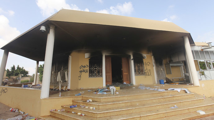 An exterior view of the U.S. consulate, which was attacked and set on fire by gunmen, in Benghazi September 12, 2012. (Reuters / Esam Al-Fetori)
