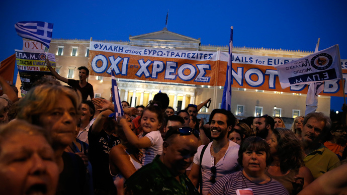 Protesters shout slogans in front of the parliament building during an anti-austerity rally in Athens, Greece, June 29, 2015. (Reuters / Alkis Konstantinidis)