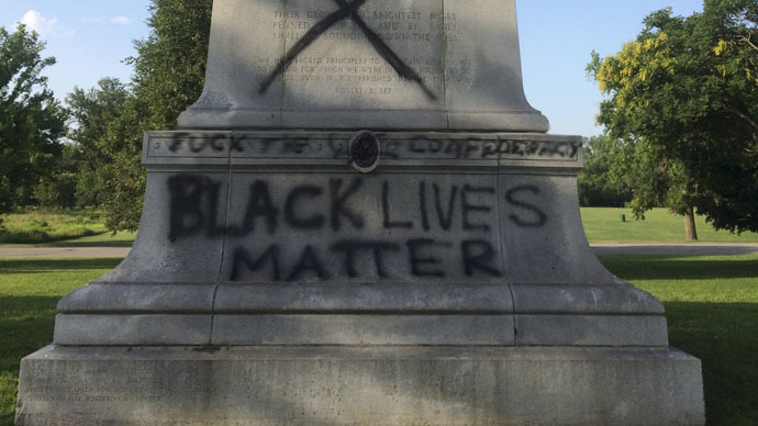 A vandalized Confederate Memorial in Forest Park in St. Louis, Missouri is shown in this photo from St. Louis' Mayor's office released on June 24, 2015. (Reuters/St. Louis Office of the Mayor)
