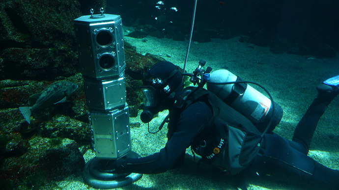 Researchers tested an under-ice rover's systems at the bottom of a large aquatic exhibit at the California Science Center. Principal investigator Andy Klesh is also a volunteer diver at the science center. (Image credit: NASA/JPL-Caltech)