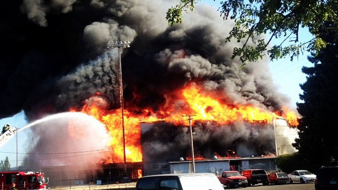 Historic stadium engulfed in flames in Oregon (VIDEO)