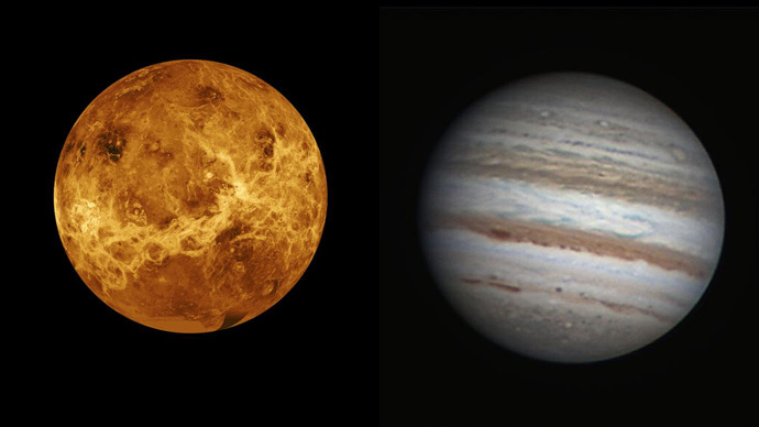 Venus (L), (NASA / JPL) and Jupiter (NASA / Freddy Willems)