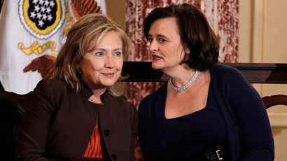 ARCHIVE PHOTO: US Secretary of State Hillary Clinton (L) confers with Cherie Blair, wife of former British Prime Minister Tony Blair, October 7, 2010 (Reuters / Jason Reed)