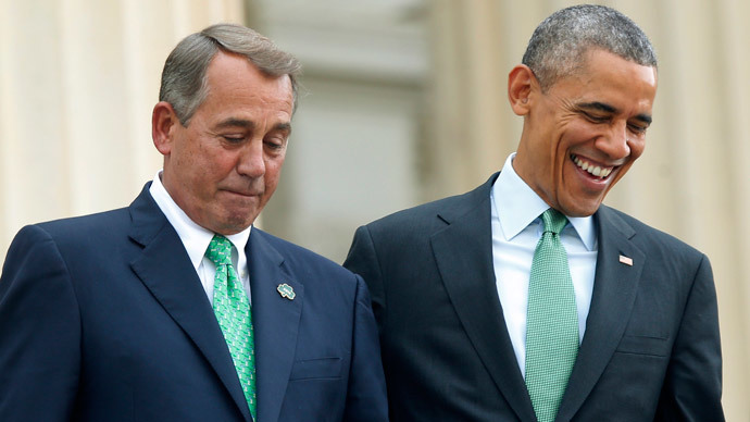 U.S. House Speaker John Boehner (R-OH) (L) and President Barack Obama.(Reuters / Jonathan Ernst)