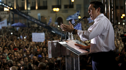 Greek Prime Minister Alexis Tsipras addresses an anti-austerity rally in Athens' Syntagma square July 3, 2015. (Reuters / Yannis Behrakis)