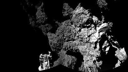 The Philae lander of the European Space Agency's Rosetta mission is safely on the surface of Comet 67P/Churyumov-Gerasimenko, as these first two images from the lander's CIVA camera confirm. One of the lander's three feet can be seen in the foreground. The view is a two-image mosaic taken on Nov. 12, 2014. (Copyright: ESA/Rosetta/Philae/CIVA)