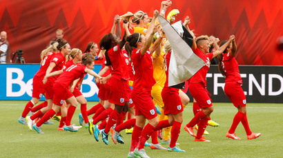 England celebrates their victory over Germany in the third place match of the FIFA 2015 Women's World Cup at Commonwealth Stadium. (Reuters)