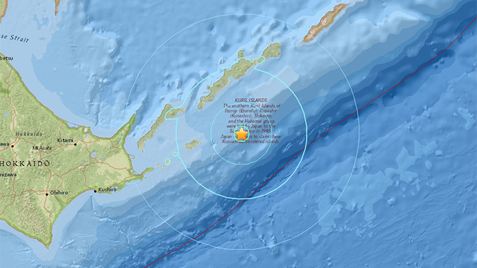6.2 magnitude quake strikes east of Kuril Islands