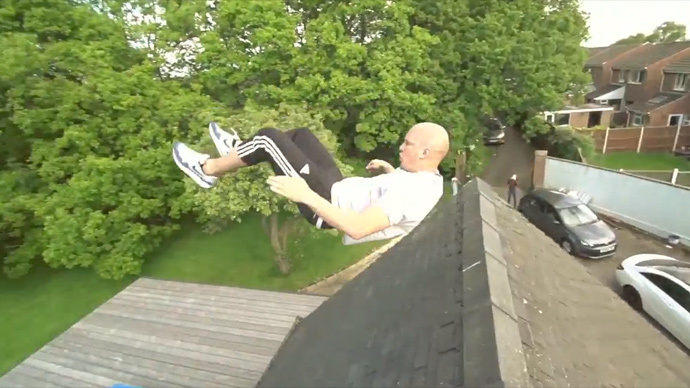 Russian swing time: UK man launches himself over house