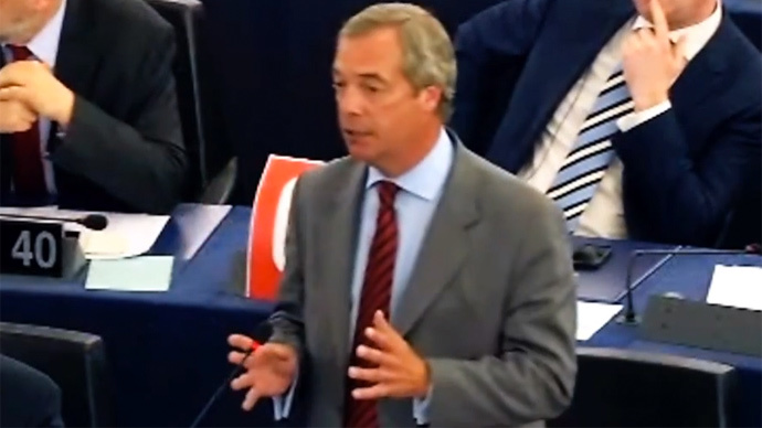 Leader of the United Kingdom Independence Party (UKIP) Nigel Farage  (screenshot from YouTube video by user UKIP MEPs)