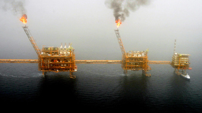 Gas flares from an oil production platform at the Soroush oil fields in the Persian Gulf (Reuters / Raheb Homavandi CJF / KS)