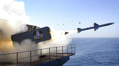 This handout photo provided by the US Navy shows a RIM-7P NATO Sea Sparrow Missile being launched from the Nimitz-class aircraft carrier USS Abraham Lincoln (CVN 72) (AFP Photo/US Navy)