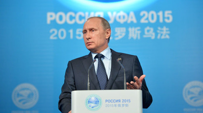 President of the Russian Federation Vladimir Putin speaks at a press conference in Ufa. (RIA Novosti/Alexei Druzhinin)