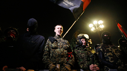 FILE PHOTO: Activists of the Right Sector movement and their supporters gather outside the parliament building to demand the immediate resignation of Internal Affairs Minister Arsen Avakov, in Kiev March 27, 2014 (Reuters / Vasily Fedosenko)
