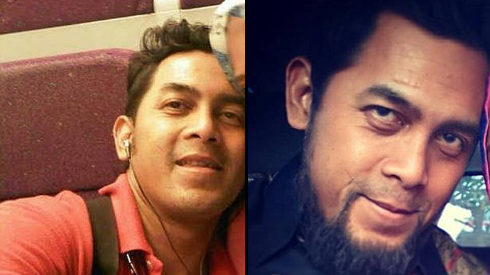 Indonesian pilot, Ridwan Agustin, before (L) and after being radicalized by Islamic State. (Image from Facebook.com)