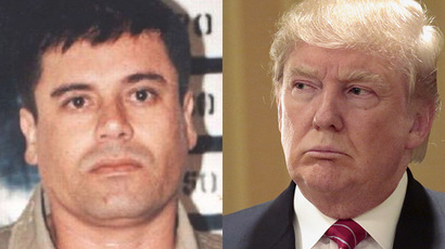 Mugshot of Sinaloa Cartel leader Joaquín Guzmán Loera (L) (via Wikipedia) and US Republican presidential candidate Donald Trump (R) (Reuters / Jonathan Alcorn)