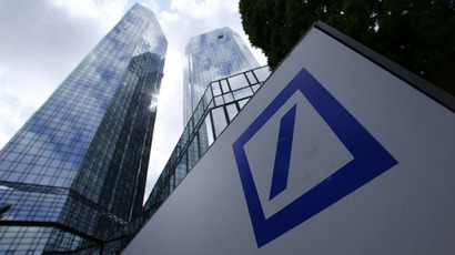 A Deutsche Bank logo adorns a wall at the company's headquarters in Frankfurt, Germany (Reuters/Ralph Orlowski)