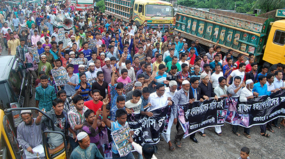 Bangladeshi protesters gather during a demonstration on July 14, 2015 against the lynching of a 13-year-old boy in Sylhet (AFP Photo / STR)